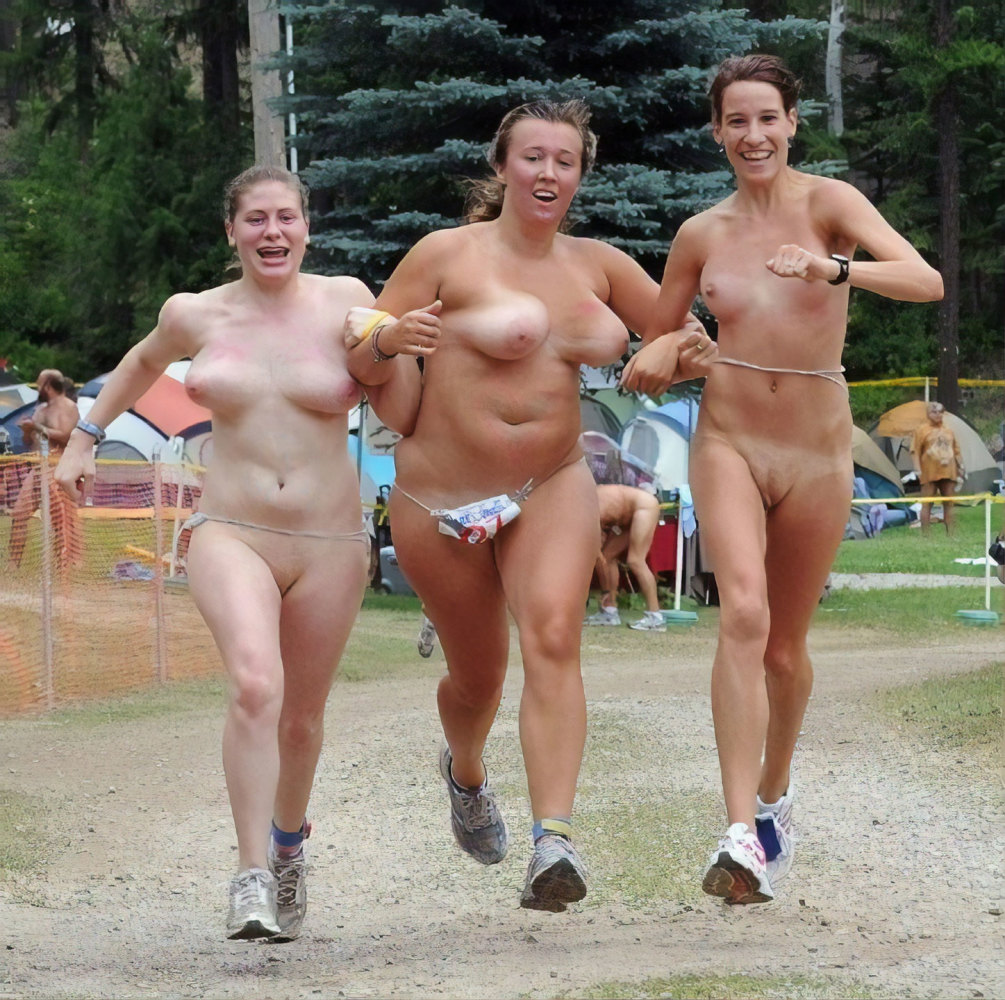 Old and young nudists..