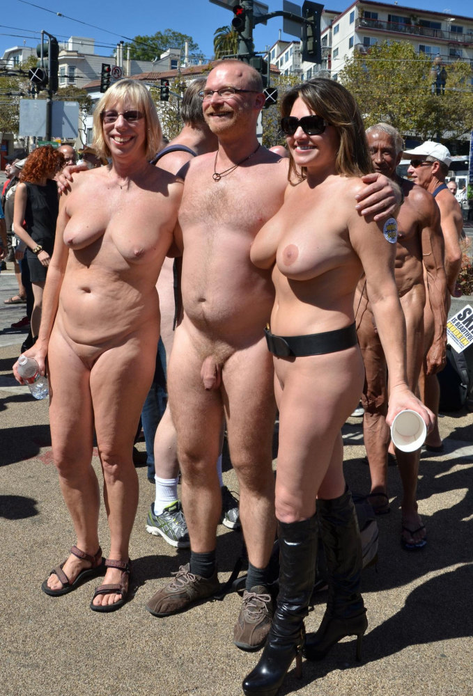 Groups of nudists in all..