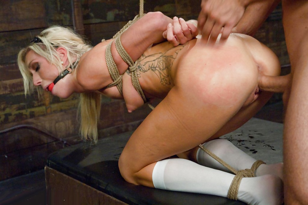 Slave bondage anal group