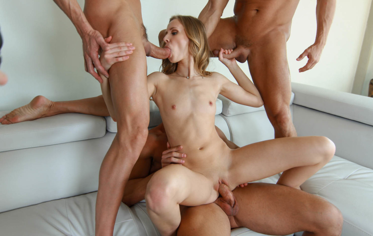 First time in porn girl decides to go to a public gang bang dogging orgy