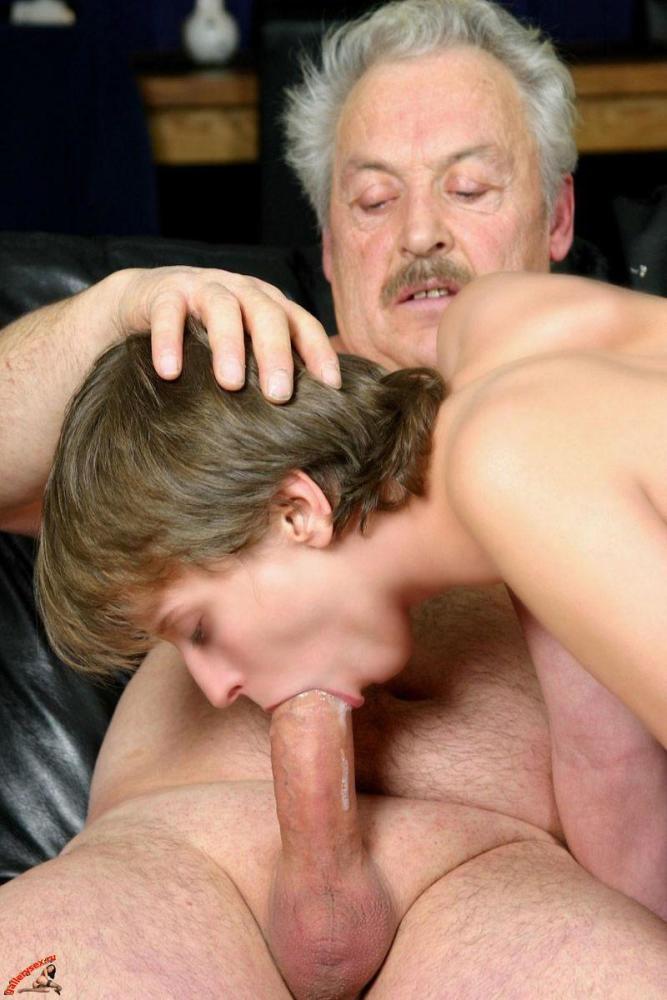 Teen gives grandpa great blowjob